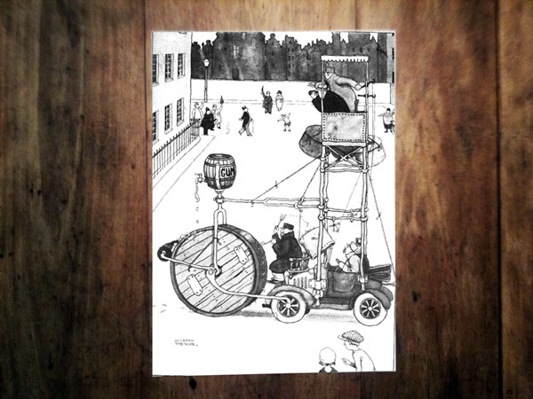 Slide 9: Heath Robinson's street cleaning machine